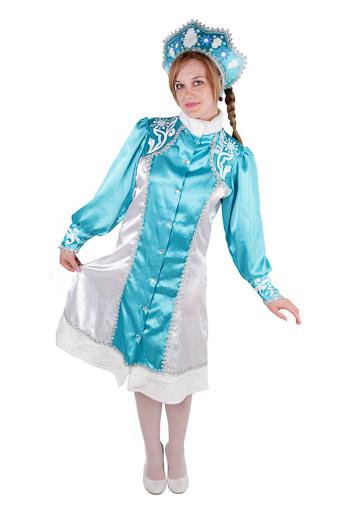 Костюм Снегурочки по разумной цене. Красивый новогодний костюм Снегурочки с кокошником, размер L-M,  русский размер: от 44 до 48, артикул Е93324, фирма Snowmen, Канада. Цвет костюма Снегурочки голубой, с оттенком морской волны.  Костюм Снегурочки для взрослых, костюм Снегурочки для подростков. Купить костюм Снегурочки
